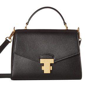 Women's Top Handle Satchel Handbag Black Leather